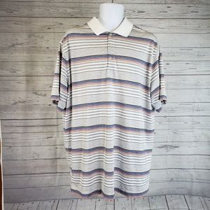 Nike Polo Sz XL Gray White Striped Short Sleeve